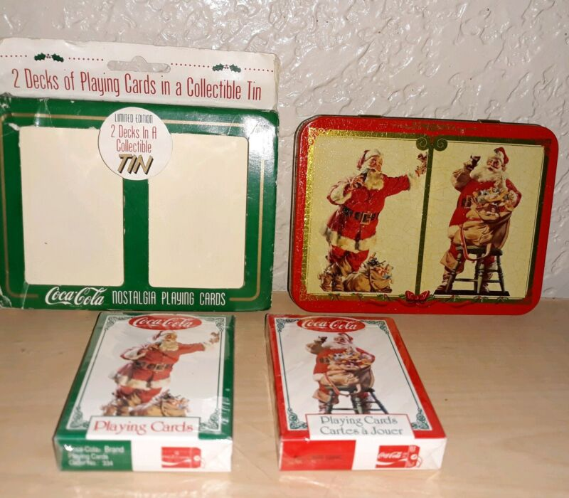 VINTAGE 1995 COCA COLA 2 DECKS SANTA CLAUS CHRISTMAS PLAYING CARDS IN TIN UNUSED