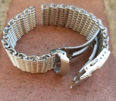 CLEARANCE 22mm ALL Brushed Shark Stainless Steel Mesh Watch Band W/ Solid Buckle ()