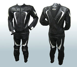 Motorcycle Racing Suit Black *Full Genuine Leather* 2-piece Motor race suits