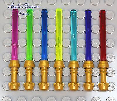 Lego Star War Set/7 Gold Hilt Light Sabers Minifig Weapon Pink/blue/green/purple