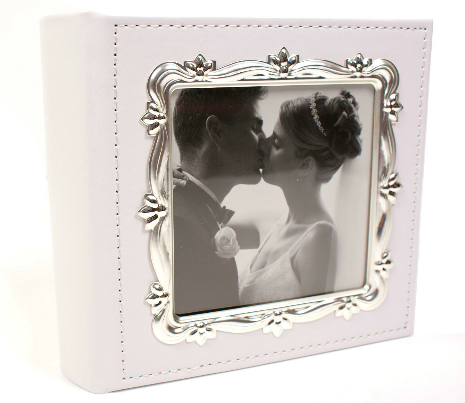 Deluxe Leather Effect White Wedding Day Photo Album 77981