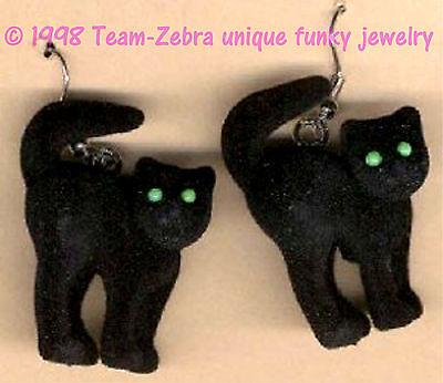 Gothic Fuzzy SPOOKY BLACK CAT EARRINGS Wicked Witch Halloween Costume Jewelry