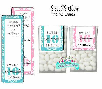 28 Sweet 16 Birthday Party Favors Tic Tac Labels Stickers PINK or BLUE (Blue Tic Tacs)