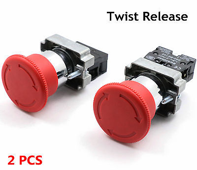 2pcs Emergency Stop Switch Red 600v 1 Nc 10a Contacts E-stop Twist Release Pe