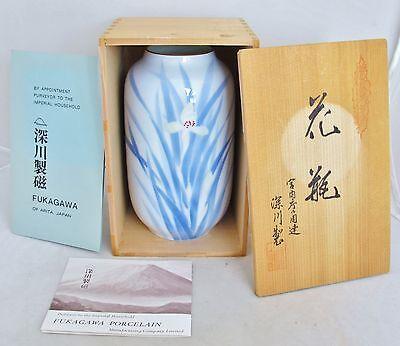 """7"""" Vintage Japanese Fukagawa of Arita Porcelain Iris Vase with Original Wood Box"""