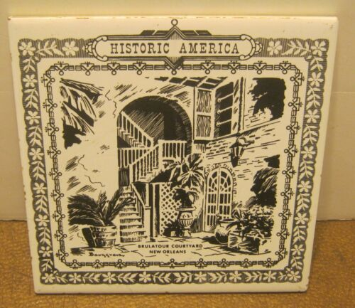 Vintage Art Tile Trivet BRULATOUR COURTYARD New Orleans BLACK & WHITE Nice!!
