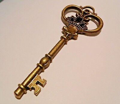 2 Skeleton Key Pendants Shiny Gold 68mm Big Keys Large Keys Wedding Keys