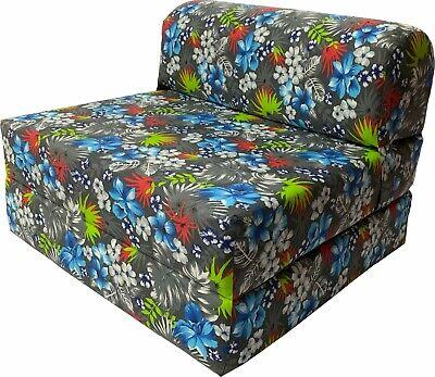 - Tropical Flower Blue 6 x 32 x 70 Sleeper Chair Folding Foam Bed, Studio Beds