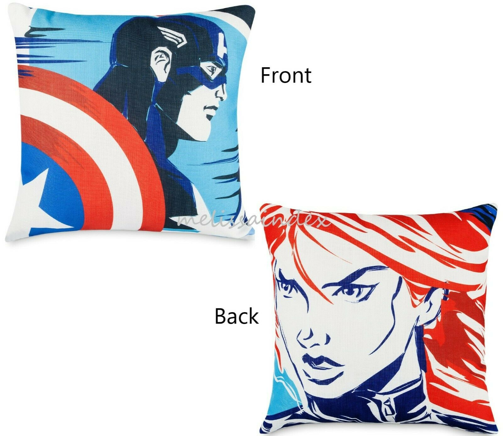 NWT DISNEY MARVEL Avengers Captain America Black Widow Pillo