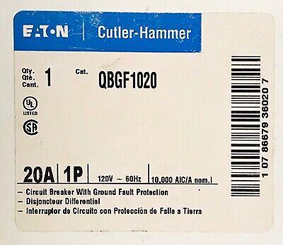 Eaton Cutler Hammer Qbgf1020 1 Pole 20amp Type Qbgf Ground Fault Circuit Breaker