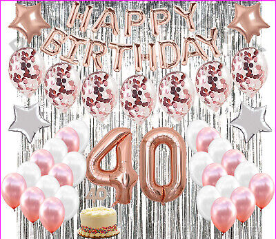 Gold Party Supplies (40th Birthday Decorations Party Supplies 40th Birthday balloons Rose gold)