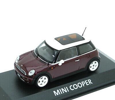 Mini Cooper R50 2001-2006 weinrot burgundy met weiß white Minichamps 1:43 dealer