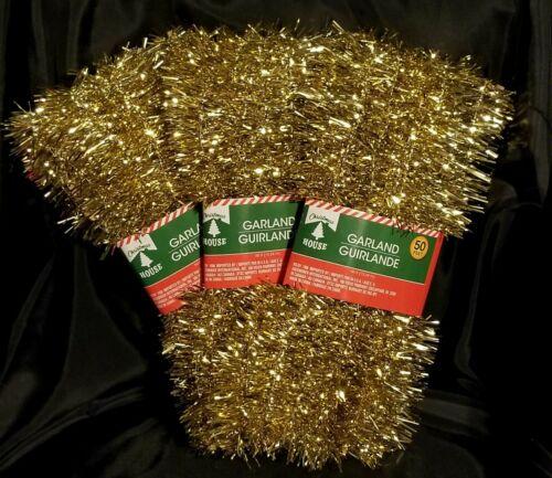 Lot Vintage Style Gold Christmas Tinsel Garland By Christmas House 150 Feet NIP