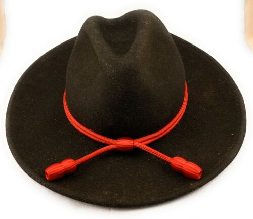 🌟US Army Artillery, Red (Scarlet) Acorn Stetson Hat Band, Campaign Cord