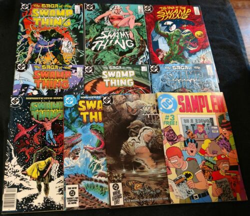 10 Swamp Thing (Moore) 23,25-Constantine cameo,26,27,29,30,31,32,34,DC Sampler 3