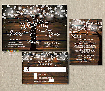100 Personalized Rustic Tree String Lights Wedding Invitations with Envelopes - Tree Wedding Invitations