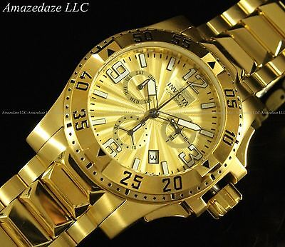 NEW Invicta Men Swiss Chronograph 18K Gold Plated Stainless St Excursion Watch