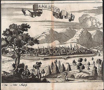 DAMASCUS sehr schöne Stadtansicht Kupferstich aus Wagner 1685 - Original!