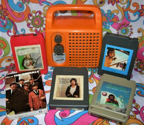 PLAY EIGHT MONO 8 TRACK PORTABLE PLAYER W/5 TAPES SERVICED Watch Video!