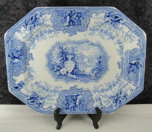 "Antique Staffordshire Mycene Blue Transferware Ironstone 15 1/4"" Platter"