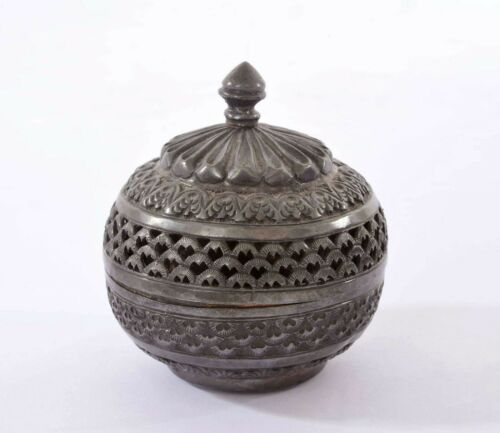 Vintage Thai Siam Solid Silver Repousse Pierced Covered Trinket Box