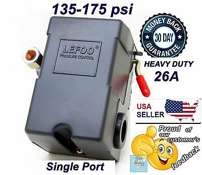 Air Compressor Pressure Switch 135-175 Single Port Heavy Duty 26a By Lefoo