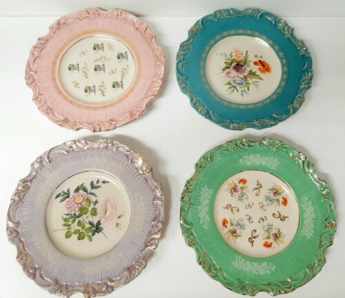 Set of 4 Floral Plates with Gold Accents? Maybe Anthropologie? Lovely & Elegant!