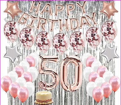 Golden Birthday Party Supplies (50th Birthday Decorations Party Supplies 50th Birthday balloons Rose gold)