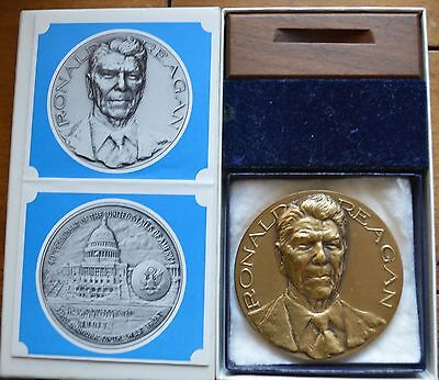 """COMPLETE 1981 OFFICIAL INAUGURAL RONALD REAGAN  BRONZE 2 3/4"""" MEDAL"""