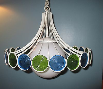 Mid Century Retro w/BLUE-GREEN CEILING HANGING LIGHT FIXTURE VTG