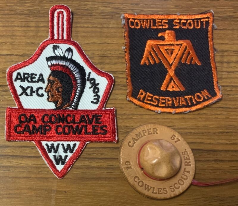 1963 OA 11-C CONCLAVE CAMP COWLES SCOUT RESERVATION BSA PATCHES LEATHER SLIDE