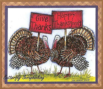 THANKSGIVING TURKEY PAIR THANKS Wood Mounted Rubber Stamp NORTHWOODS P10094 - Thankful Turkey Craft