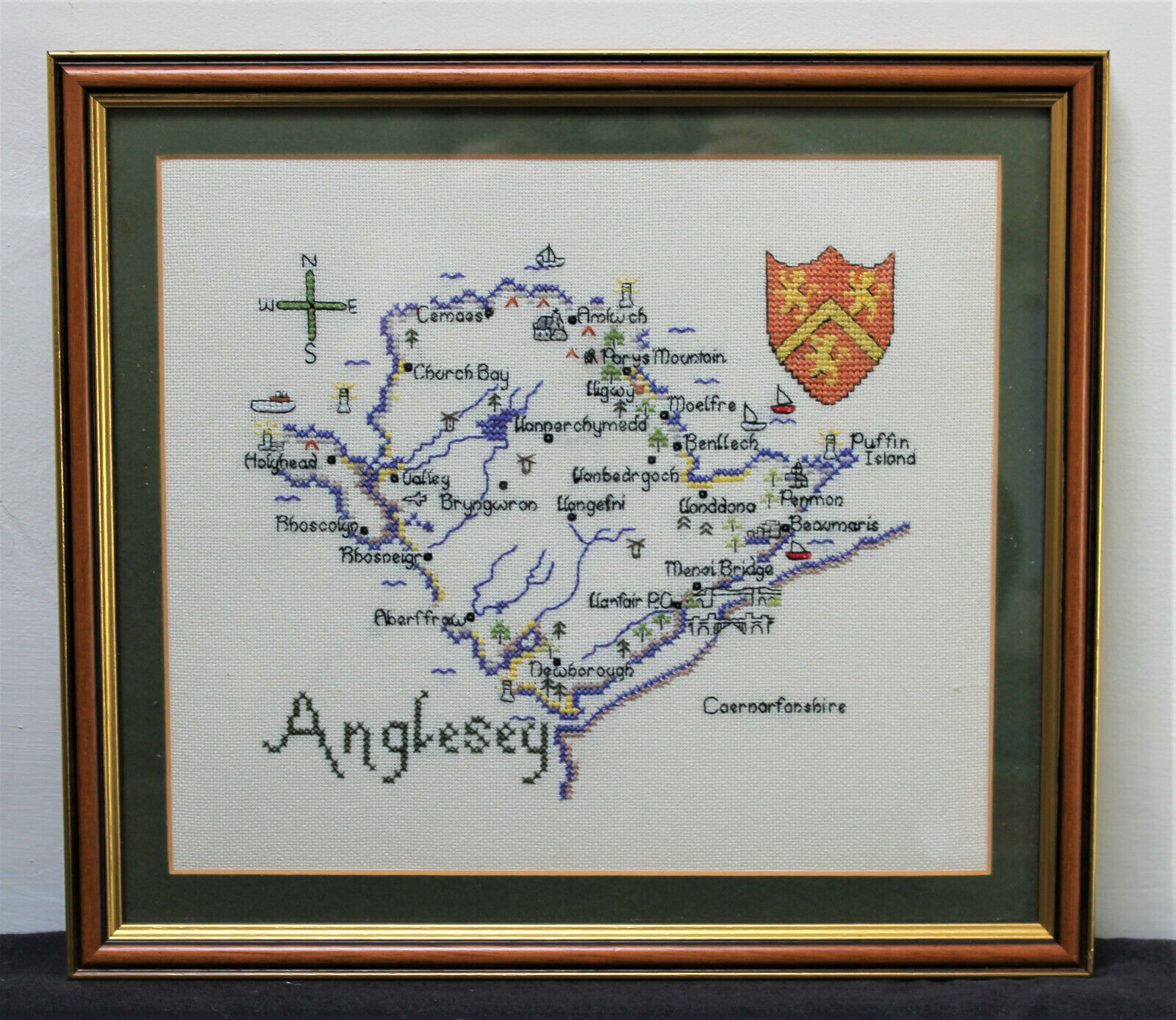Wooden Framed Completed Anglesey Ynys Mon Cross Stitch Heritage Stitchcraft Map