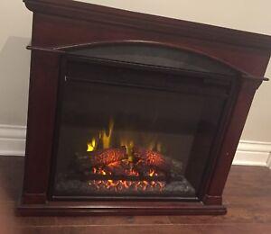 Foyer électrique en bois couleur acajou