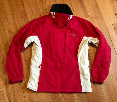 Marmot Waterproof Ski Snowboard Rain Jacket, Red White, No Hood, Small S 2-4
