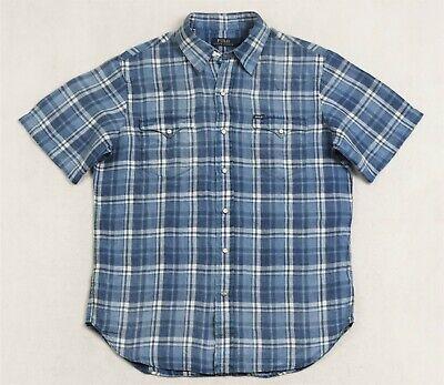 Polo Ralph Lauren Shirt Blue Indigo Western Plaid S & M NWT $99