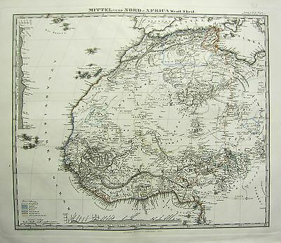 1870 DATED MAP ~ AFRICA ~ NORTH WEST & MIDDLE ~ ADOLF STIELER HAND COLOUR