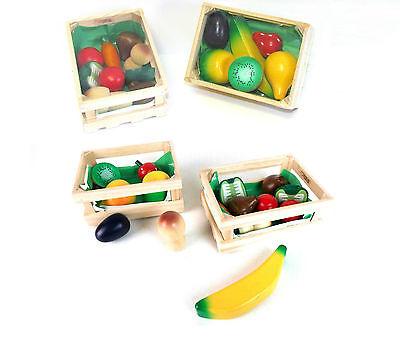 4 x Holzkiste Holz Korb Kaufladen Zubehör Kinderküche Kaufmannsladen Obst Gemüse