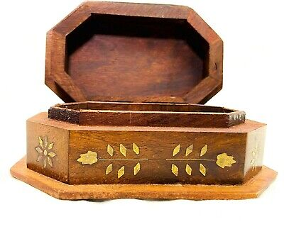 Vintage Trinket Box Hong Kong Gold Tone Carved Man Holding Staff Woods