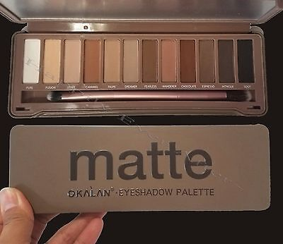 Matte Natural Colors Eyeshadow Palette- Okalan Neutral Colors Shadows with Brush