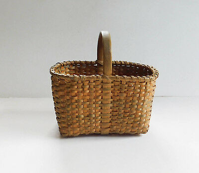 Vintage Small Woven Cherokee Basket Appalachian Ash Hickory With Handle