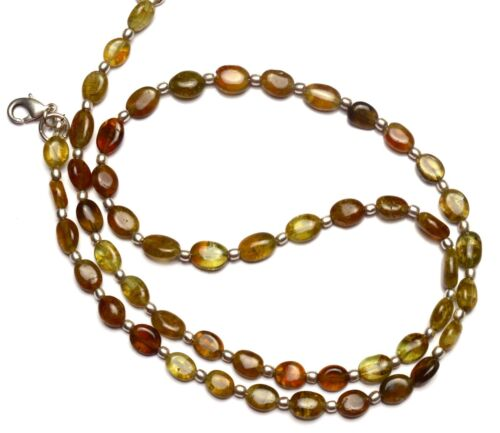 """Natural Gem Grossular Garnet Smooth 8x6MM Approx Oval Nuggets Necklace 22"""" 101Ct"""