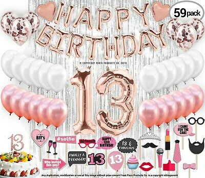 13th Birthday Decorations, 13 Birthday Party Supplies 13 Cake Topper Rose Gold