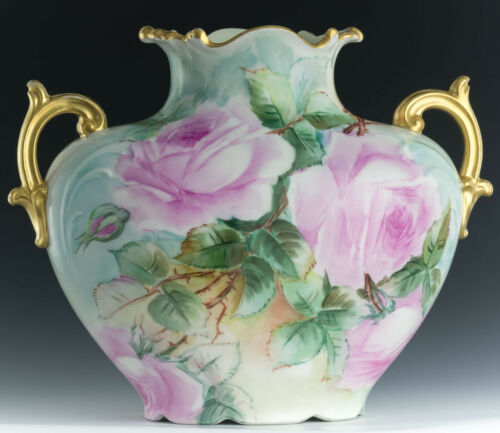 LIMOGES  FRANCE HAND PAINTED ROSES VASE