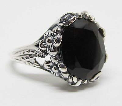 Size 9 Black Onyx Floral Ring Sterling Silver Antique Vintage Insp Goth Witchy