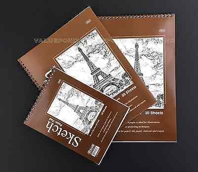 """(Set of 3) Premium SKETCH BOOK Paper Pad 6"""" x 8"""", 8.5"""" x 11"""", 9"""" x 12"""" Spiral F9"""