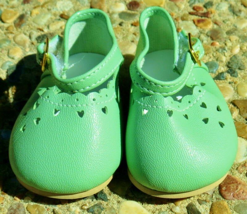 "Light Green Heartcut Dress Shoes to fit 22"" Dolls, 85mm / 44mm, New"