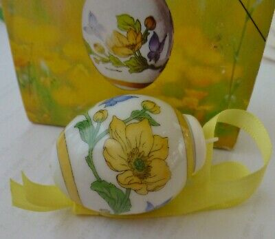 HUTSCHENREUTHER mini EGG Swamp Yolk flower Easter/Spring porcelain Ornament  NIB