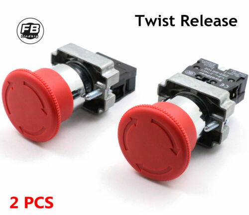Emergency Stop Switch Red 600V 1 NC 10A Contacts E-stop Twist Release 2PCS