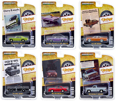 """VINTAGE AD CARS"" SERIES 3, 6 PC SET 1/64 DIECAST MODEL CARS BY GREENLIGHT 39050"